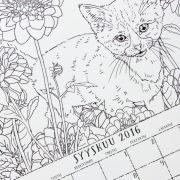 Väritettävä kalenteri vuodelle 2016
